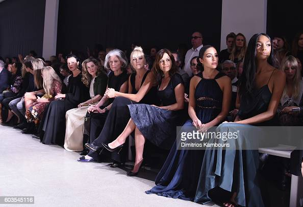 Actress Malin Akerman actress Carla Gugino model Olivia Culpo and model Jourdan Dunn attend the Zac Posen fashion show during New York Fashion Week...