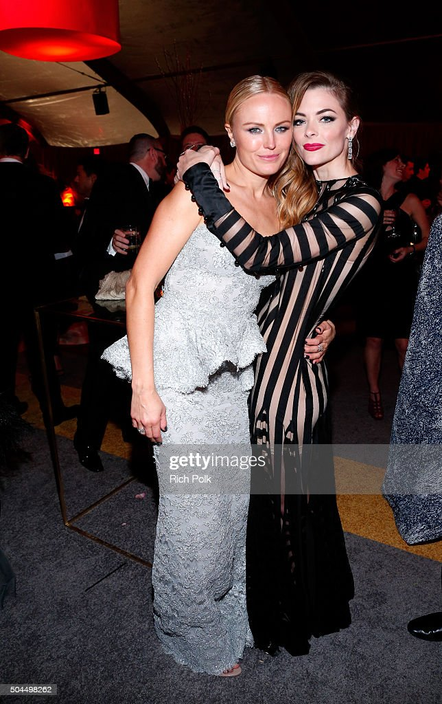 Actress Malin Akerman (L) and Jaime King attend The Weinstein Company and Netflix Golden Globe Party, presented with DeLeon Tequila, Laura Mercier, Lindt Chocolate, Marie Claire and Hearts On Fire at The Beverly Hilton Hotel on January 10, 2016 in Beverly Hills, California.
