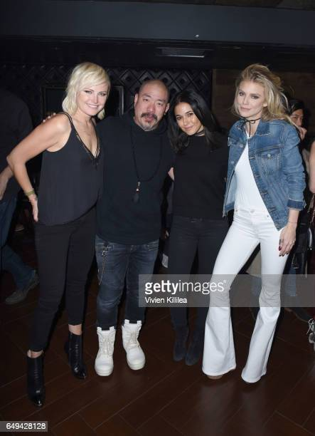 Actress Malin Akerman founder and CEO of Hudson Jeans Peter Kim and actresses Emmanuelle Chriqui and AnnaLynne McCord attend a private event hosted...