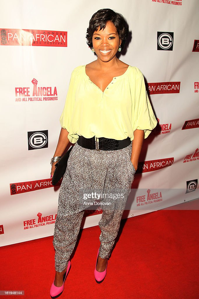 Actress <a gi-track='captionPersonalityLinkClicked' href=/galleries/search?phrase=Malinda+Williams&family=editorial&specificpeople=206346 ng-click='$event.stopPropagation()'>Malinda Williams</a> attends the closing night at the Pan African film festival 'Free Angela And All Political Prisoners' at Rave Cinemas on February 17, 2013 in Los Angeles, California.