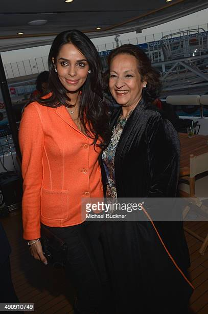 Actress Mallika Sherawat and Mannat Singh attend The India Party during the 67th Annual Cannes Film Festival on May 15 2014 in Cannes France
