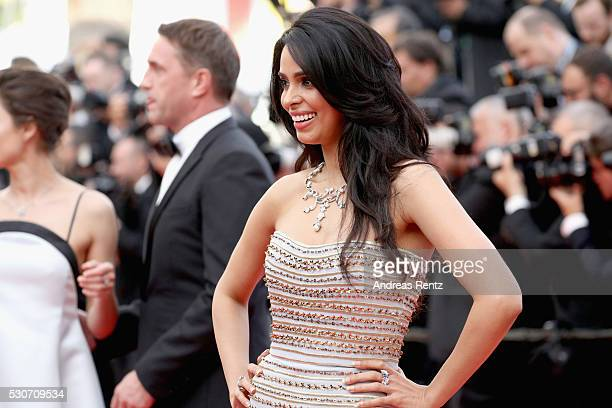 Actress Mallika Sherawat attends the 'Cafe Society' premiere and the Opening Night Gala during the 69th annual Cannes Film Festival at the Palais des...