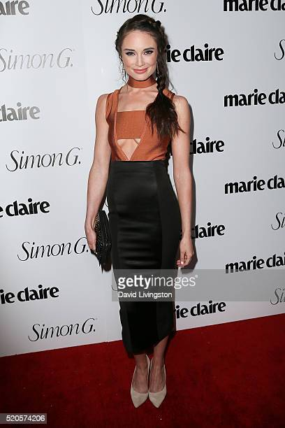 Actress Mallory Jansen arrives at the Marie Claire Fresh Faces Party at the Sunset Tower Hotel on April 11 2016 in West Hollywood California