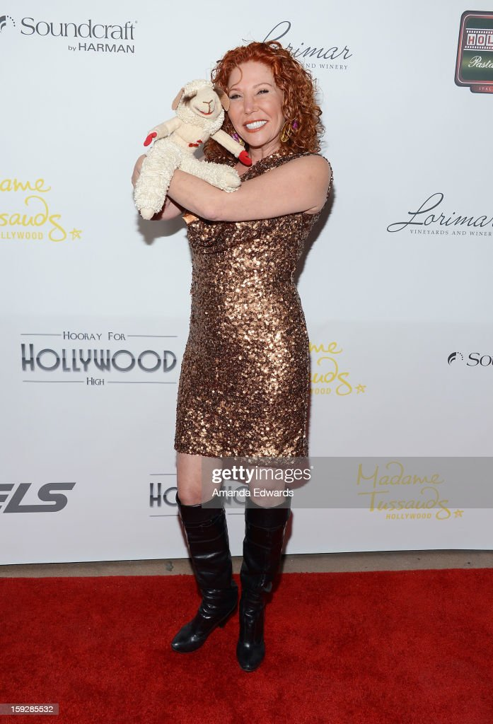 Actress Mallory Lewis and 'Lamb Chop' arrive at the Hooray For Hollywood...High Gala at the El Capitan Theatre on January 10, 2013 in Hollywood, California.