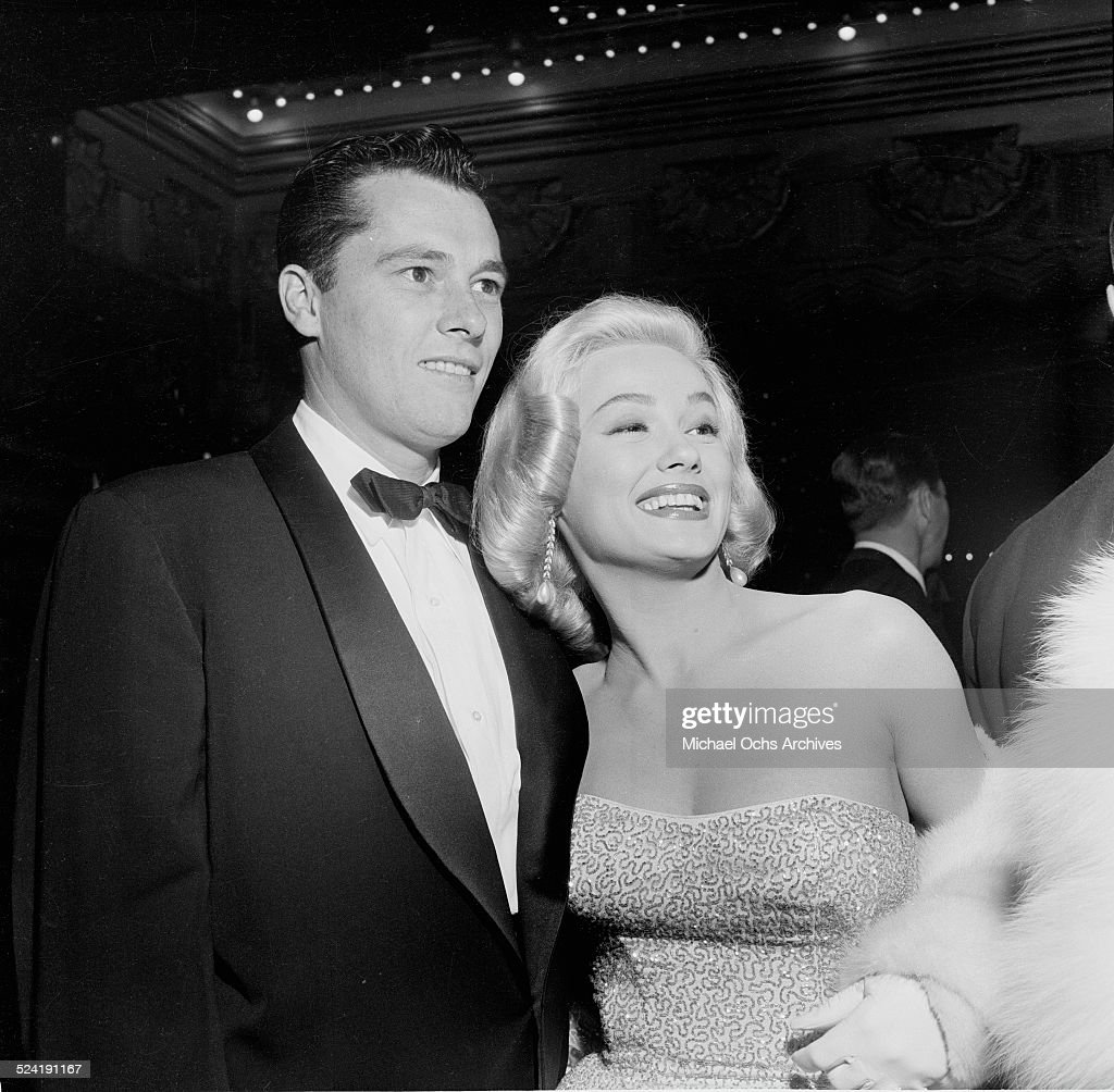 Actress Mamie Van Doren and Nicky Hilton attend the movie premiere of 'The Glenn Miller Story' in Los AngelesCA
