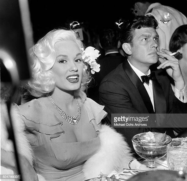 Actress Mamie Van Doren attends an event as she sits next to actor Andy Griffith in Los AngelesCA