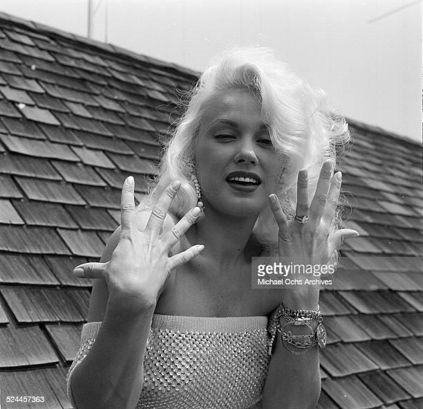 Actress Mamie Van Doren poses at home in Los AngelesCA