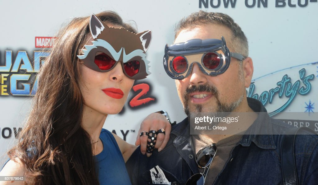 Actress Mandy Amano and director Steven Ayromlooi at Disney's Celebration for the Release Of 'Guardians Of The Galaxy Vol. 2' Blu-ray With Michael Rooker held at Shorty's Barber Shop on August 22, 2017 in West Hollywood, California.