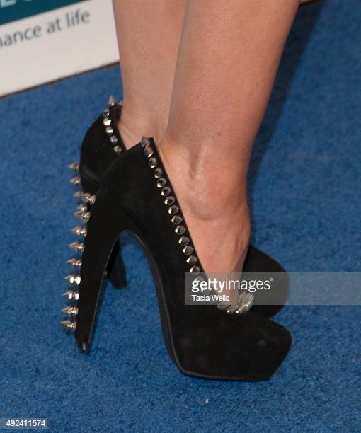 Actress Mandy Amano shoe detail arrives at The Teen Project's Hollywood Red Carpet Event at TCL Chinese 6 Theatres on October 12 2015 in Hollywood...