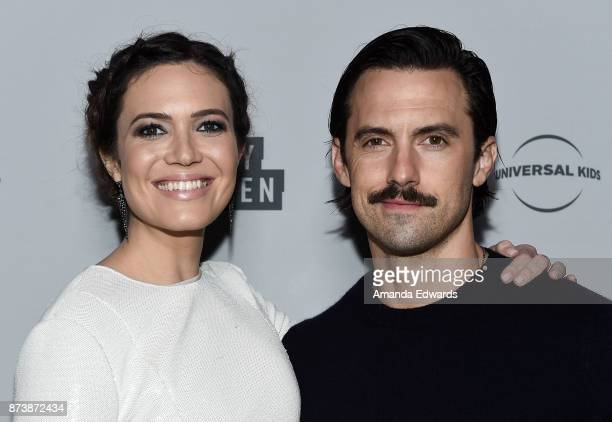 Actress Mandy Moore and actor Milo Ventimiglia arrive at NBCUniversal's Press Junket at Beauty Essex on November 13 2017 in Los Angeles California