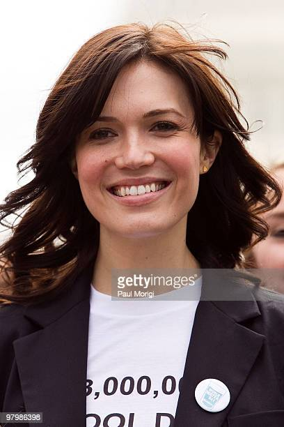 Actress Mandy Moore participates in a rally at the Upper Senate Park for the 2010 World Water Day coalition on Capitol Hill on March 23 2010 in...