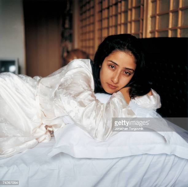 Actress Manisha Koirala takes a break during the filming of 'Champion' at Film City Studios January 2000 in Hyderabad India Koirala is originally...