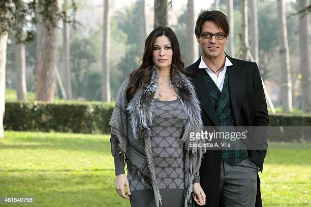 Actress Manuela Arcuri and actor Gabriel Garko attend 'Il Peccato e La Vergogna 2' photocall at Villa Borghese on January 9 2014 in Rome Italy