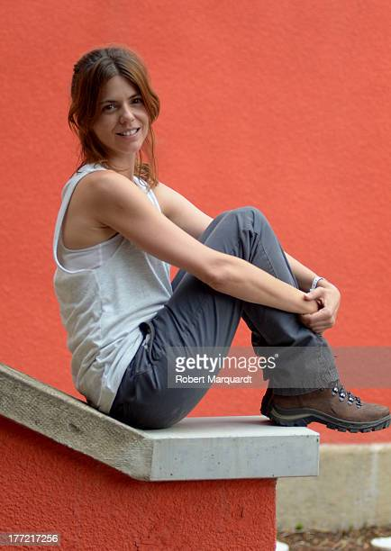 Actress Manuela Velasco poses for the press on the set of her latest movie 'Rec 4 Apocalipsis' being filmed at Parc Audiovisual de Catalunya on...