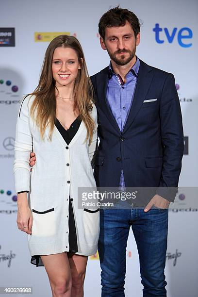 Actress Manuela Velles and actor Raul Arevalo announce the next 'Jose Maria Forque' awards at the Palace Hotel on December 18 2014 in Madrid Spain