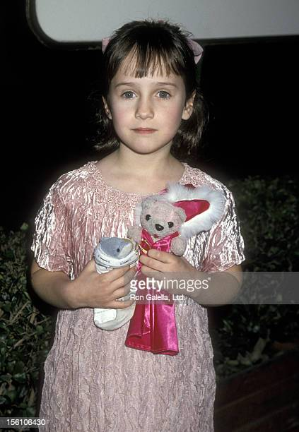 Actress Mara Wilson attends the 52nd Annual Golden Globe Awards on January 21 1995 at Beverly Hilton Hotel in Beverly Hills California