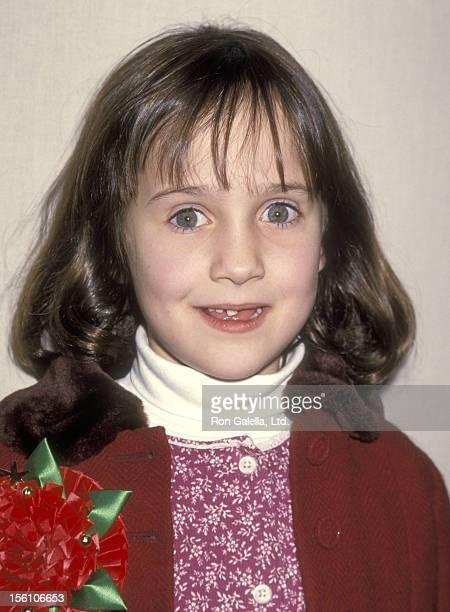 Actress Mara Wilson attends the 63rd Annual Hollywood Christmas Parade on November 27 1994 at KTLA Studios in Hollywood California