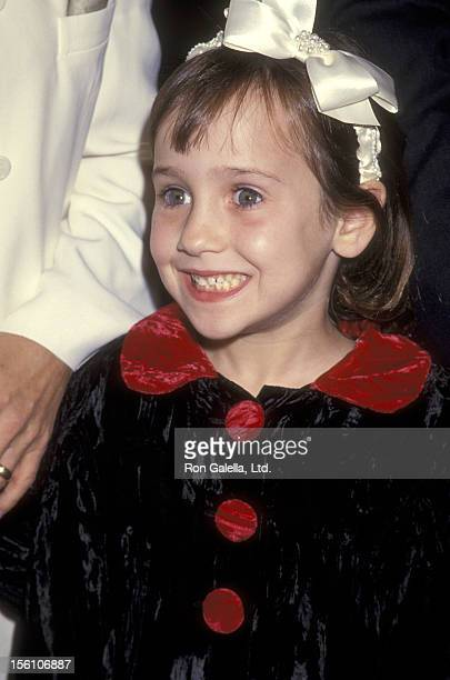 Actress Mara Wilson attends the 'Mrs Doubtfire' Beverly Hills Premiere on November 22 1993 at Academy Theatre in Beverly Hills California
