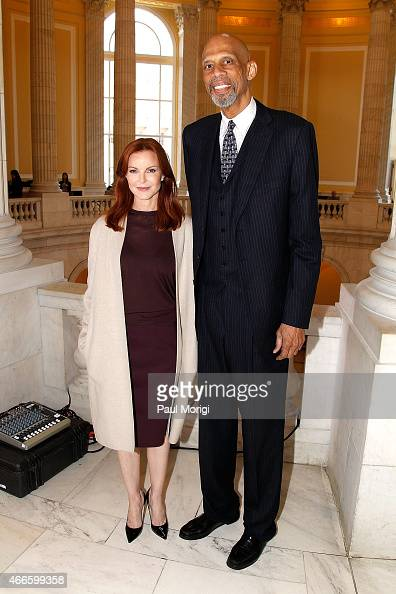 Actress Marcia Cross and NBA halloffamer Kareem AbdulJabbar pose for a photo at The American Cancer Society Cancer Action Network and Stand Up To...