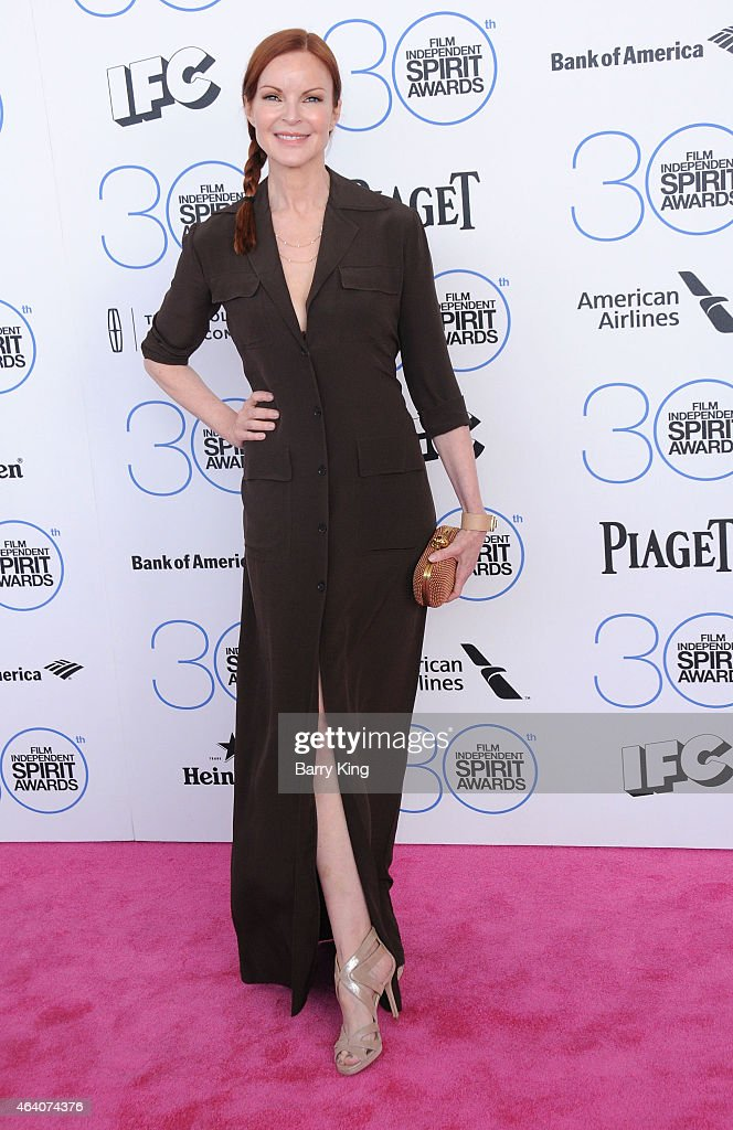Actress Marcia Cross arrives at the 2015 Film Independent Spirit Awards at Santa Monica Beach on February 21, 2015 in Santa Monica, California.