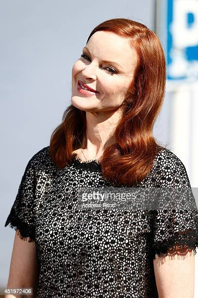 Actress Marcia Cross attends the Marc Cain show during the MercedesBenz Fashion Week Spring/Summer 2015 at Erika Hess Eisstadion on July 10 2014 in...
