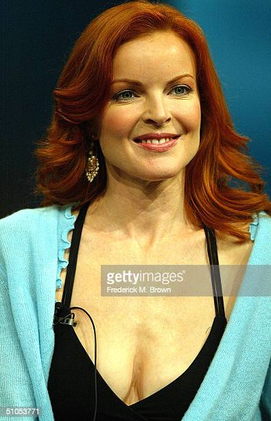Actress Marcia Cross of 'Desperate Housewives' speaks with the media at the ABC Summer TCA Press Tour Day 1 at the Century Plaza Hotel June 12 2004...