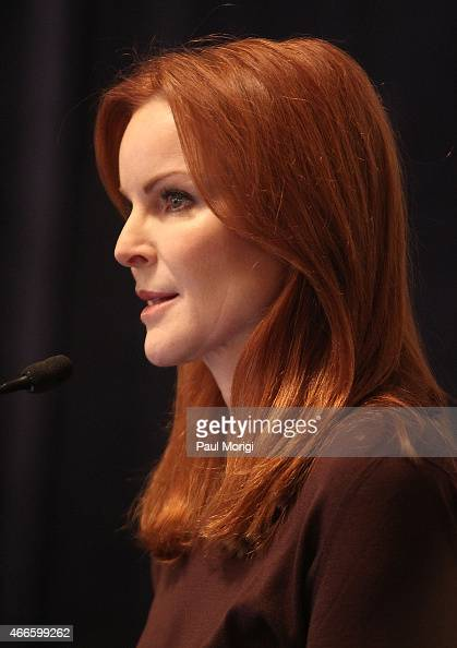 Actress Marcia Cross speaks at The American Cancer Society Cancer Action Network and Stand Up To Cancer discussion on the importance of cancer...