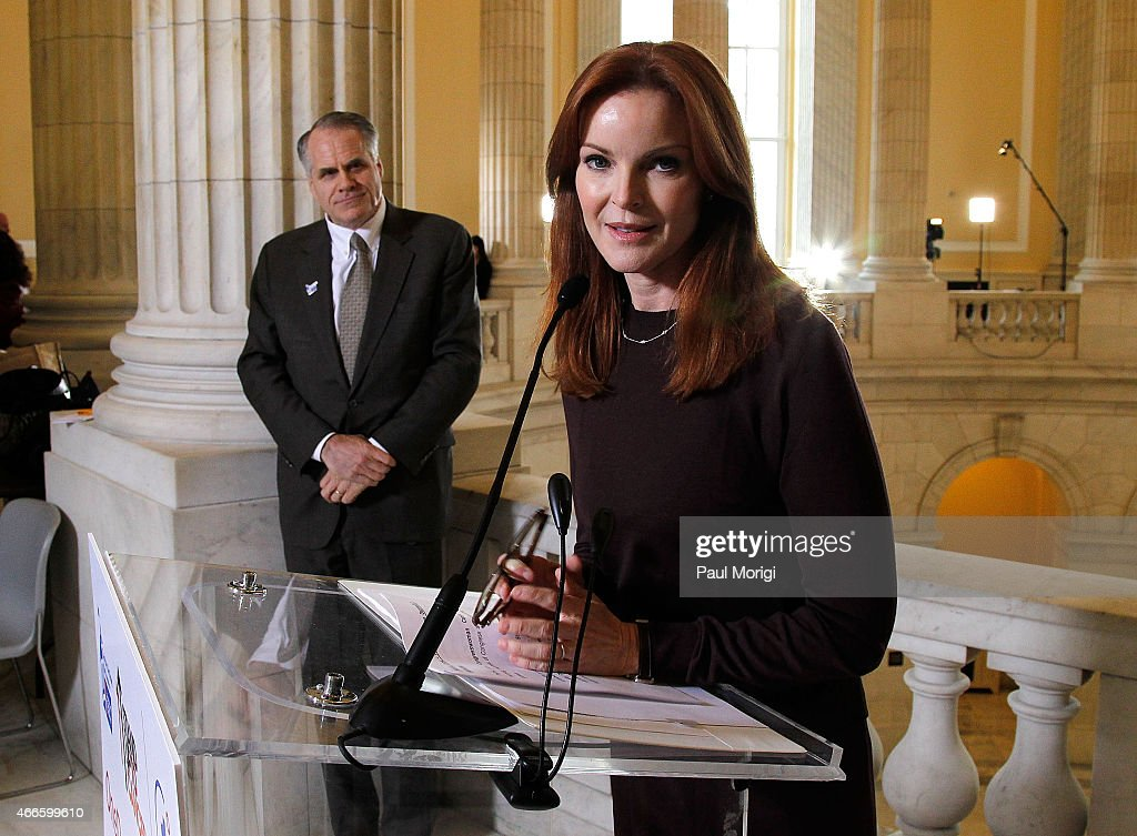 Actress Marcia Cross speaks at The American Cancer Society Cancer Action Network and Stand Up To Cancer discussion on the importance of cancer research at Cannon House Office Building on March 17, 2015 in Washington, DC.