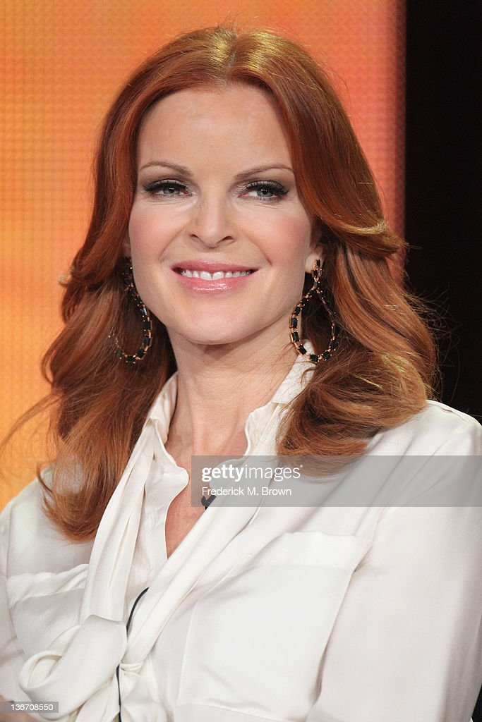 Actress <a gi-track='captionPersonalityLinkClicked' href=/galleries/search?phrase=Marcia+Cross&family=editorial&specificpeople=202844 ng-click='$event.stopPropagation()'>Marcia Cross</a> speaks during the 'Desperate Housewives' panel during the ABC portion of the 2012 Winter TCA Tour held at The Langham Huntington Hotel and Spa on January 10, 2012 in Pasadena, California.