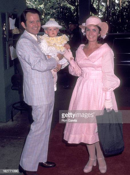 Actress Margaret O'Brien husband Roy Thorsen and daughter Mara Thorsen attend the Annual Celebrity Easter Sunday Brunch on April 10 1977 at Beverly...