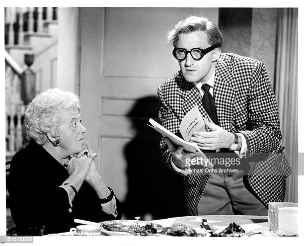 Actress Margaret Rutherford and actor Ron Moody on the set of the movie 'Murder Most Foul' in 1964