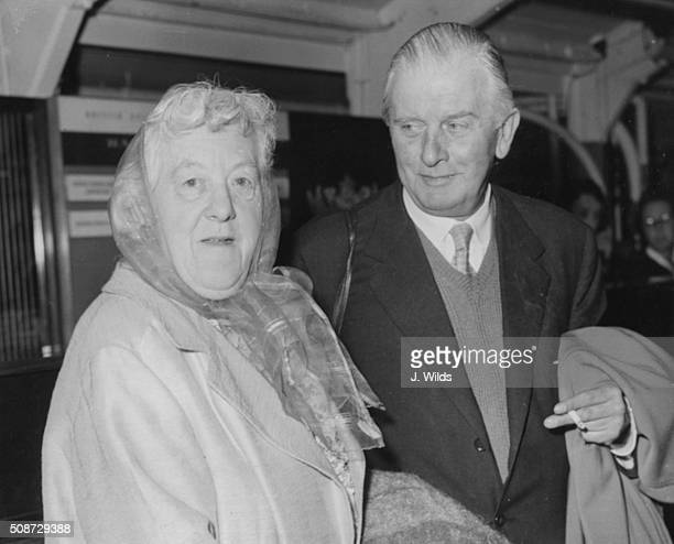 Actress Margaret Rutherford and her husband actor Stringer Davis preparing to leave for the USA to appear in a play at London Airport August 16th 1960