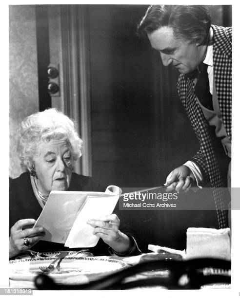 Actress Margaret Rutherford as Miss Jane Marple on the set of the movie 'Murder Most Foul' in 1964