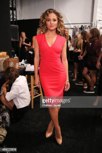 Actress Margarita Levieva backstage at the Nicole Miller fashion show during MercedesBenz Fashion Week Spring 2015 at The Salon at Lincoln Center on...