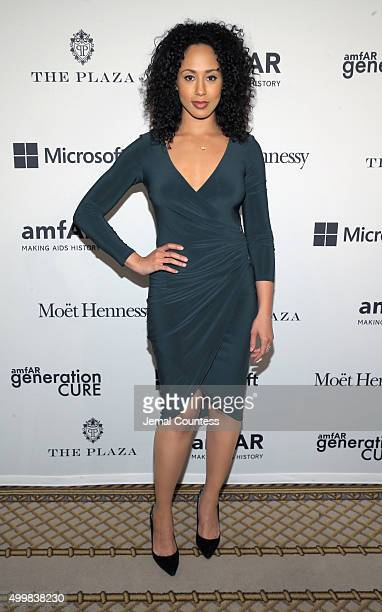 Actress Margot Bingham attends 2015 amfAR generationCURE Holiday Party at Oak Room on December 3 2015 in New York City