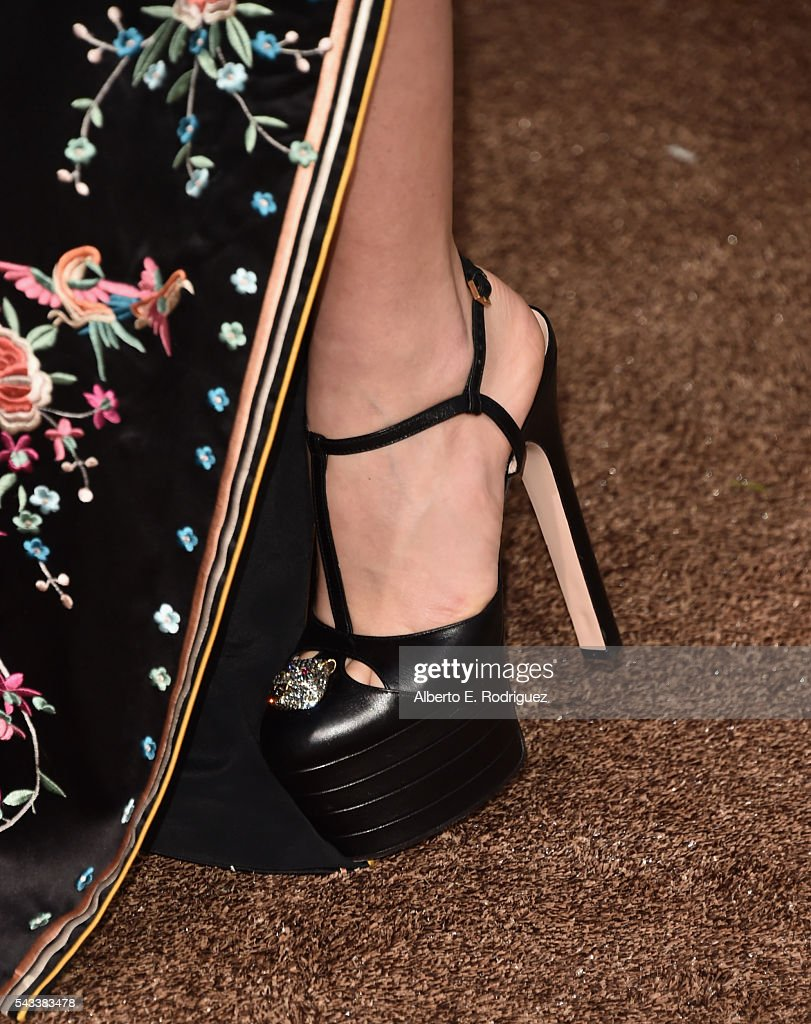 Actress Margot Robbbie, shoe detail, attends the premiere of Warner Bros. Pictures' 'The Legend of Tarzan' at Dolby Theatre on June 27, 2016 in Hollywood, California.