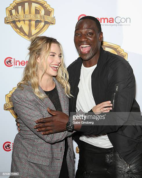 Actress Margot Robbie and actor Adewale AkinnuoyeAgbaje attend Warner Bros Pictures' 'The Big Picture' an exclusive presentation highlighting the...