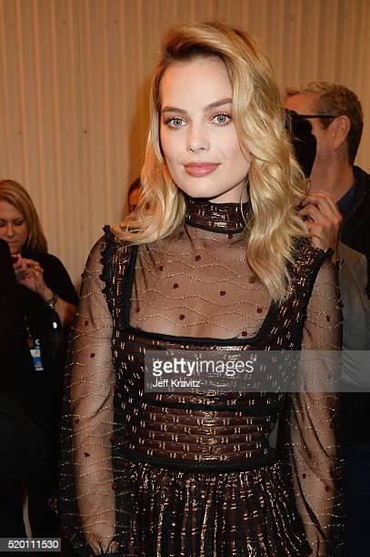 Actress Margot Robbie attends the 2016 MTV Movie Awards at Warner Bros Studios on April 9 2016 in Burbank California MTV Movie Awards airs April 10...
