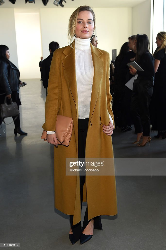 Actress Margot Robbie attends the Calvin Klein Collection Fall 2016 fashion show during New York Fashion Week at Spring Studios on February 18, 2016 in New York City.