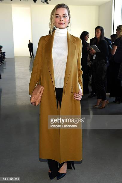 Actress Margot Robbie attends the Calvin Klein Collection Fall 2016 fashion show during New York Fashion Week at Spring Studios on February 18 2016...