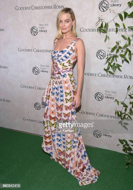 Actress Margot Robbie attends the 'Good Bye Christopher Robin' New York Special Screening at The New York Public Library on October 11 2017 in New...