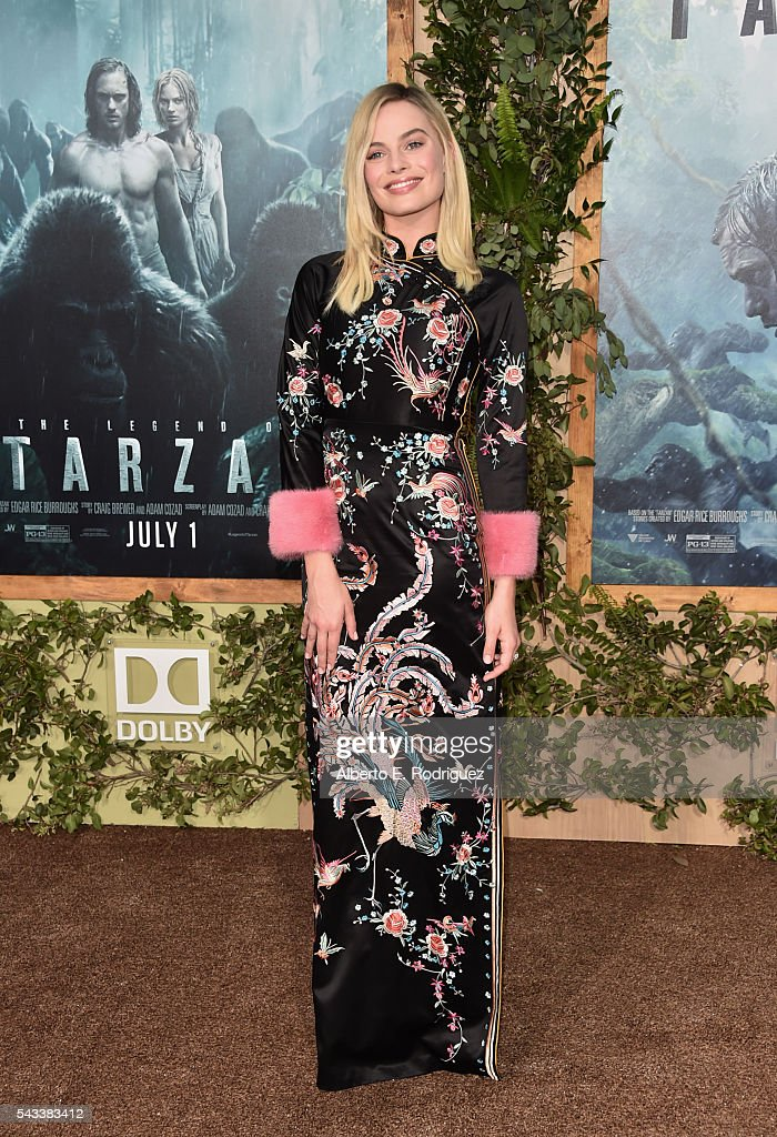 Actress <a gi-track='captionPersonalityLinkClicked' href=/galleries/search?phrase=Margot+Robbie&family=editorial&specificpeople=5781742 ng-click='$event.stopPropagation()'>Margot Robbie</a> attends the premiere of Warner Bros. Pictures' 'The Legend of Tarzan' at Dolby Theatre on June 27, 2016 in Hollywood, California.