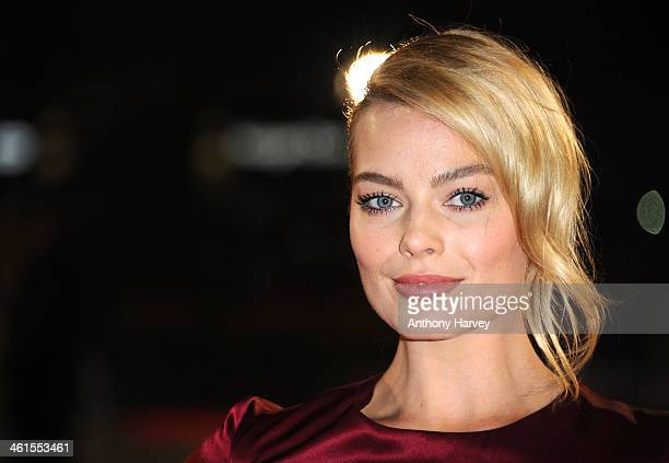 Actress Margot Robbie attends the UK Premiere of The Wolf of Wall Street at London's Leicester Square on January 9 2014 in London England