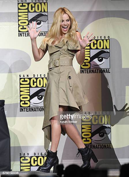 Actress Margot Robbie attends the Warner Bros Presentation during ComicCon International 2016 at San Diego Convention Center on July 23 2016 in San...