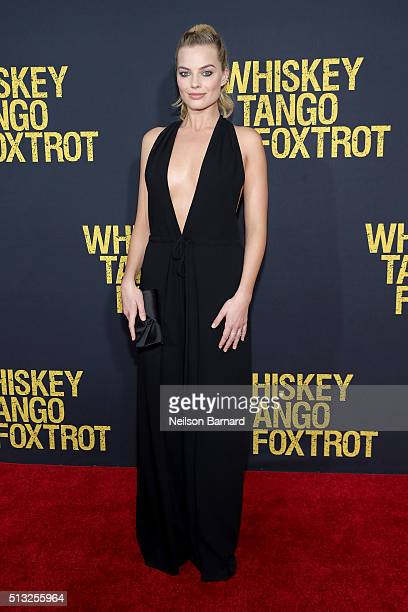Actress Margot Robbie attends the World Premiere of the Paramount Pictures title 'Whiskey Tango Foxtrot' on March 1 2016 at AMC Loews Lincoln Square...