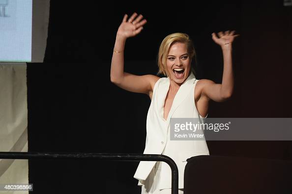 Actress Margot Robbie from 'Suicide Squad' attends the Warner Bros presentation during ComicCon International 2015 at the San Diego Convention Center...