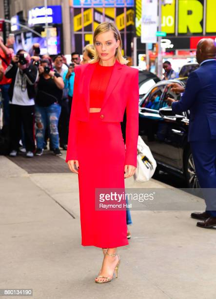 Actress Margot Robbie is seen arriving at Good Morning America on October 11 2017 in New York City