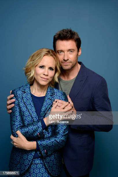 Actress Maria Bello and actor Hugh Jackman of 'Prisoners' pose at the Guess Portrait Studio during 2013 Toronto International Film Festival on...