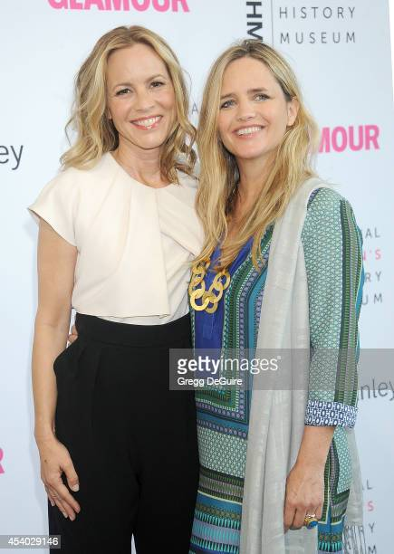 Actress Maria Bello and Clare Munn arrive at the National Women's History Museum's 3rd Annual Women Making History event at Skirball Cultural Center...