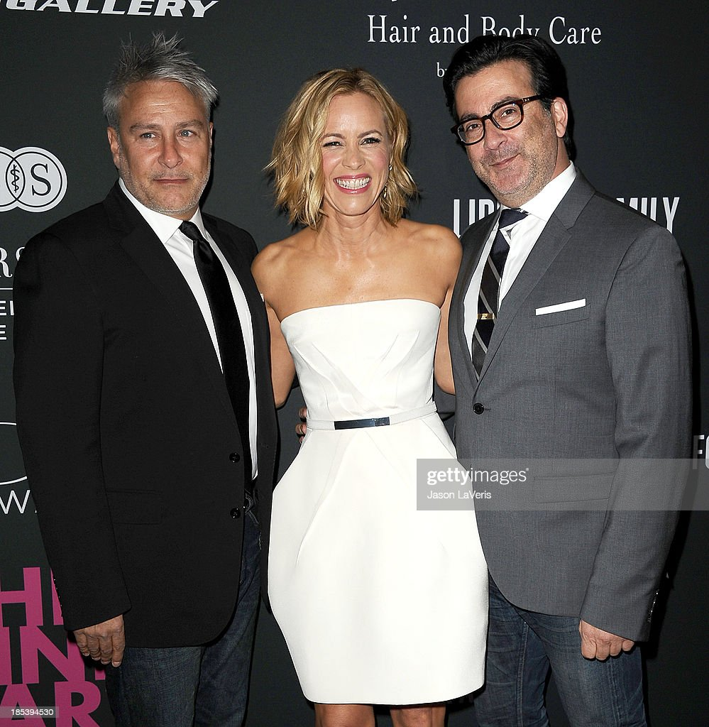 Actress Maria Bello and designers Ken Kaufman and Isaac Franco of KAUFMANFRANCO attend the 2013 Pink Party at Hangar 8 on October 19 2013 in Santa...
